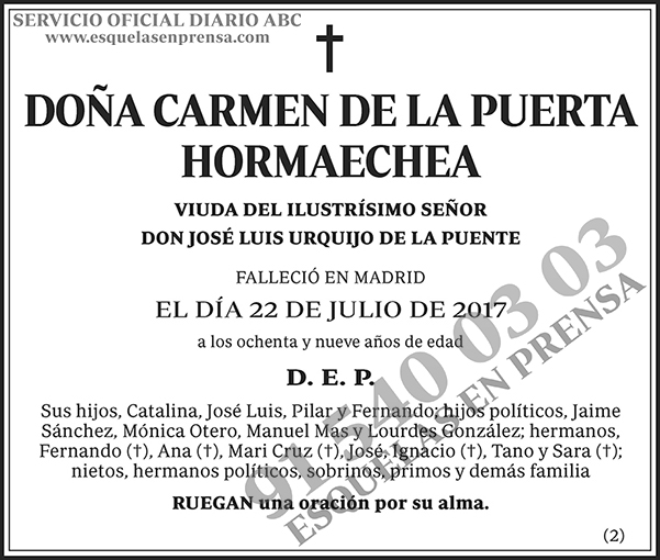 Carmen de la Puerta Hormaechea